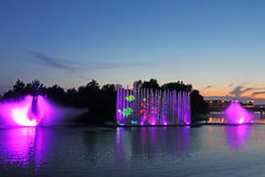 Biggest fountain on the river in Vinnytsia, Ukraine Royalty Free Stock Photos
