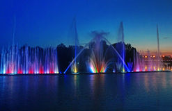 Biggest fountain on the river in Vinnytsia, Ukraine Royalty Free Stock Image