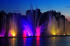 Biggest fountain on the river in Vinnytsia, Ukraine Stock Images
