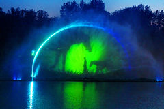 Biggest fountain on the river in Vinnytsia, Ukraine Stock Photo