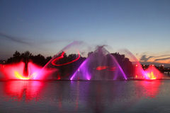 Biggest fountain on the river was opened in Vinnitsa, Ukraine Stock Photo