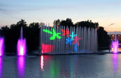 Biggest fountain on the river was opened in Vinnytsia, Ukraine Stock Photos