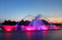Biggest fountain on the river was opened in Vinnytsia, Ukraine Royalty Free Stock Image