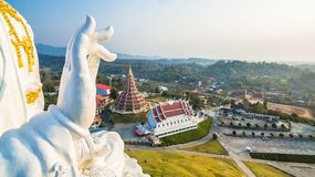 Chinese temple wat Hyua Pla Kang in Chiang Rai north of Thailand. The biggest Guanyin statue in Chinese temple wat Hyua Pla Kang in Chiang Rai north of Thailand Royalty Free Stock Photos