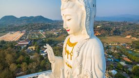 Chinese temple wat Hyua Pla Kang in Chiang Rai north of Thailand. The biggest Guanyin statue in Chinese temple wat Hyua Pla Kang in Chiang Rai north of Thailand Stock Images