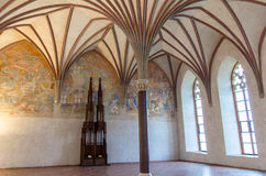 The biggest hall in Malbork castle , the Grand Refectory. Gothic hall in Malbork castle in Poland. The castle built in gothic style used to be Teutonic Order Stock Images