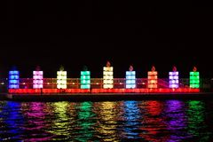 Biggest Hannukah lights. In old port Tel Aviv December 2013 Stock Photo