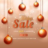Biggest Holidays Sale Banner with 50% Cashback Decorated with Ha. Nging Baubles on Shiny Background vector illustration