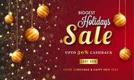 Biggest Holidays Sale Banner Design, Upto 50% Cashback Offer, Ad. Vertising Poster Decorated with Hanging Baubles and Stars royalty free illustration