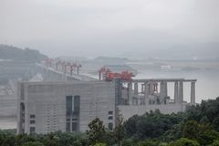 Hydroelectric Power Station Three Gorges Dam on Yangtze river in China royalty free stock image