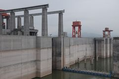 Hydroelectric Power Station Three Gorges Dam on Yangtze river in China stock photos