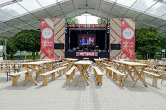 The biggest indoor Fan-zone on Euro-2012 Stock Photo