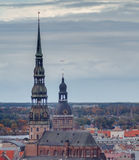 The biggest medieval churches in Riga, Latvia Stock Photo