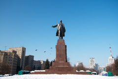 The biggest monument to Lenin in Kharkov in winter Royalty Free Stock Images