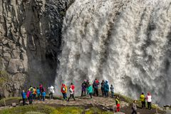 Biggest and most powerful waterfall in Europe called Dettifoss in Iceland, near lake Myvatn, summer, closeup