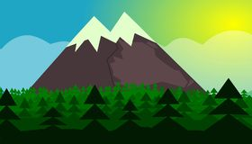 Biggest mountain in euroupe trees stock illustration