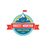Biggest Mountain - Summer Expedition 2014 - Vector badge. For creative design projects. Adventure vector label Stock Photos