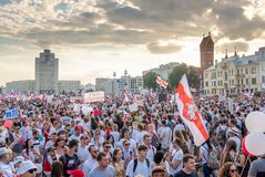 Free Biggest Peaceful Protest Demonstrations In Modern History Of Belarus Stock Photography - 193647992