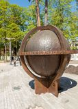 The biggest rotating globe in Latvia situated on one of the streets leading to the beach in Jurmala, Latvia Royalty Free Stock Image