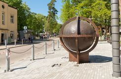 The biggest rotating globe in Latvia situated on one of the streets leading to the beach in Jurmala, Latvia Stock Photography