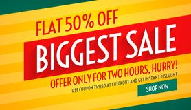 Biggest sale offers and discount banner template for promotion Royalty Free Stock Photos