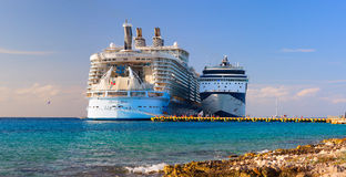 The biggest ship in the world Oasis of the Seas was docked. Over 5,500 passengers went out to visit tropical island. Stock Photo