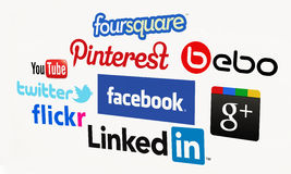 Social Media. Biggest social media websites. For editorial use only. Bright background