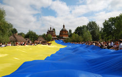 The biggest Ukrainian flag Stock Image