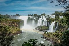 The biggest waterfall in Brazil and Argentina. Foz do Iquasu. Puerto Iguaz stock photo