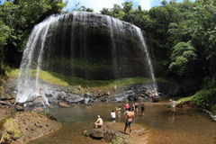 Waterfall in jungle with people Stock Photo