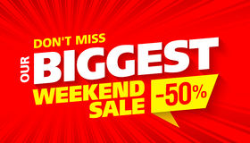 Biggest Weekend Sale. Bright advertising banner design Stock Photography