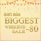Biggest Weekend Sale bright banner design, vector illustration -80% stock illustration