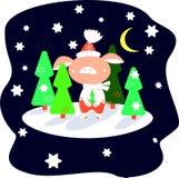 Biggetje in rode broek in een de winterbos op een sterrige nacht onder groene Kerstbomen vector illustratie