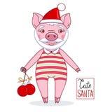 Biggetje - Santa Claus die een hoed en een gestreepte maillot met Kerstmisballen dragen stock illustratie
