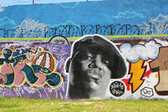 Biggie Smalls graffiti in lisbon. A wall graffiti in lisbon of the rapper Biggie Smalls, who was also known  as  Notorious B.I.G. he was killed by Stock Photos