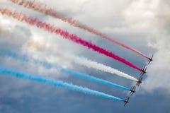 BIGGIN HILL, KENT/UK - JUNE 28 : Red Arrows Aerial Display at Bi Stock Image