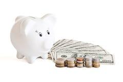 Biggy bank & money Royalty Free Stock Photos