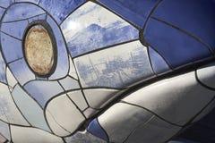Bigh-Fische decken Skulptur fac Detail Belfast Nord-Irelande mit Ziegeln lizenzfreie stockbilder