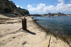 Bighi Lido and Fort. St. Angelo. The old Royal Naval Lido at Bighi now dilapidated and disused Royalty Free Stock Photography