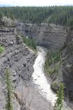 Bighorn canyon with crescent falls canada royalty free stock photos