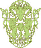 Bighorn Sheep Lion Tree Coat of Arms Celtic Knot. Illustration of stylized bighorn sheep head with two lion supporters climbing on tree with Celtic knot, called Royalty Free Stock Photos