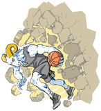 Bighorn Sheep Ram Basketball Mascot Crashing Throu. Cartoon vector clip art illustration of a charging bighorn sheep or ram basketball player mascot crashing vector illustration