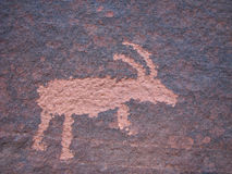 Bighorn sheep rock art Stock Photo