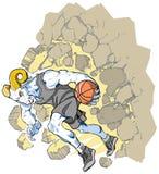 Bighornfår Ram Basketball Mascot Crashing Throu Arkivbild
