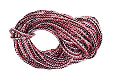Bight of multicolour rope cut out on white. Background stock photo