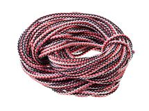 Bight of multicolour synthetic rope cut out. On white background royalty free stock image