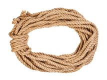 Bight of natural jute rope isolated on white. Background stock images
