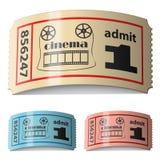 biglietti arricciati lucidi del cinematografo 3d Fotografia Stock