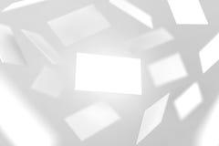Biglietti da visita in bianco che cadono, rappresentazione 3d Immagini Stock Libere da Diritti