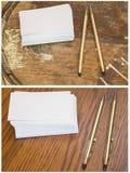 Biglietti da visita in bianco del collage che scrivono la matita della penna Immagini Stock